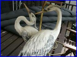 Giuseppe Armani Florence Capodimonte Large Tall Table Lamp Storks Herons Cranes