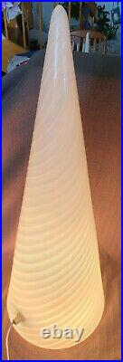 Gorgeous Ex-Large Vintage Vetri Murano Glass White Swirl Table Lamp 25 with Label