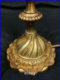 Gorgeous Large Heavy Antique French Bronze 2 Arm Crystal Candelabra Table Lamp