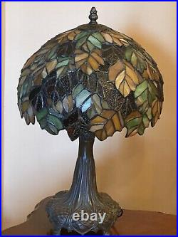 Gorgeous Large Tiffany Style Victorian Table Lamp Shade Stained Glass