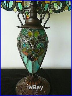 Gorgeous Tiffany Style Large Table Lamp Beautiful Blues 61 cm