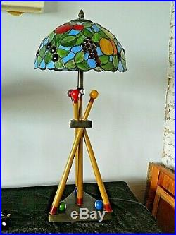Gorgeous Tiffany Style Large Table Lamp Pool Cues Pool Balls, Snooker 73 cm tall