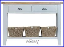 Grey Painted Chunky Oak Large Lamp Hall Console Table Berkshire Range