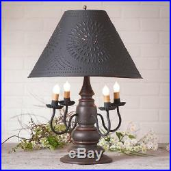 Harrison 4-Arm Wooden Table Lamp With Punched Tin Shade Primitive Americana Light