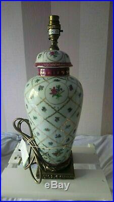 Heavy 2.8 kg Large Vintage Dresden Floral Porcelain Ginger Jar Table Lamp Base