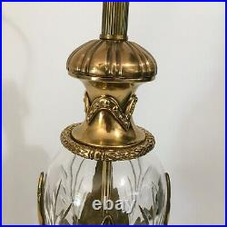Heavy Vintage Brass & Etched Crystal Table Lamp