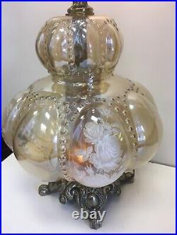 Hollywood Regency Design Fenton Light Amber Glass Floral Bubble 3 Way Lamp