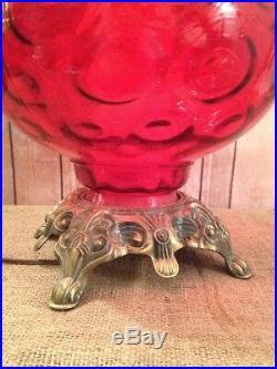 Hollywood Regency Large 3-way Light Table Lamp Red Glass, Ornate Brass Base MCM