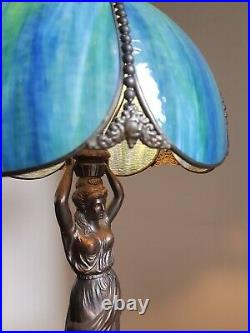 Huge Tiffany Style 65Cm/25.5 Tall Extra Large Lady Figure Table Lamp Light