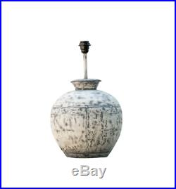 Iron Metal Lamp Base, Large Industrial Rustic Grey Round Side Table Light