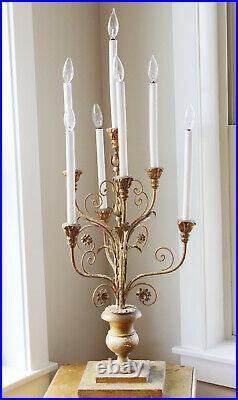 Italian Antique Table Girandole Chandelier Candelabra Lamp Gorgeous Carved Base
