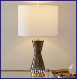 John Lewis & Partners Metalized Large Glass Table Lamp + USB, Grey RRP £149