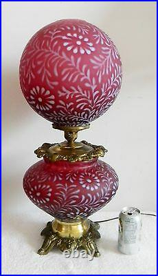 L G Wright Fenton LARGE GWTW lamp in cranberry daisy and fern