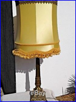 LARGE ANTIQUE VINTAGE SOLID BRASS TABLE LAMP with LARGE VINTAGE LAMPSHADE