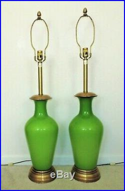 LARGE Pair of Marbro Table Lamps Mid Century Modern Green Opaline Glass