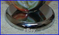 LARGE Pair of Modern Italian Glass & Chrome Table Lamps Vintage Murano Venetian