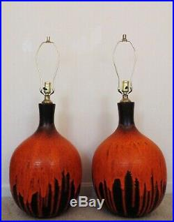 LARGE Pair of Table Lamps Mid Century Modern Brutalist Organic Gourd Drip Glaze