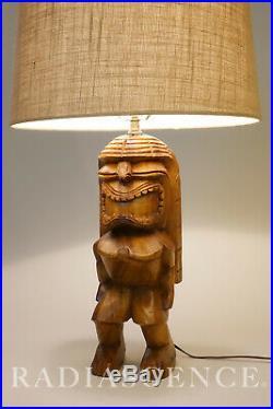 LARGE TIKI MODERN CARVED HAWAIIAN ACACIA KU GOD TRIBAL TABLE LAMP 60's WITCO MUG
