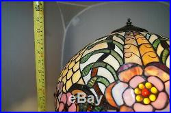 LARGE Vintage 1960s 70s Era Leaded Stained Art Glass Shade Electric Table Lamp