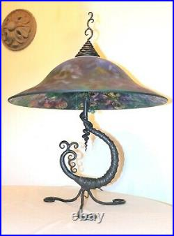 LARGE original handmade Ulla Darni wrought iron reverse painted glass table lamp