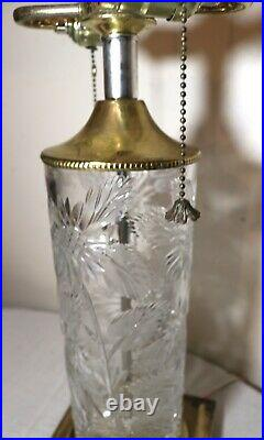 LARGE vintage brass cut clear crystal electric cylinder table lamp light glass