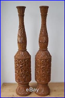 Lamps Pair of Large Hand Carved Solid Teak Lamp Stands Ornaments Vintage Antique
