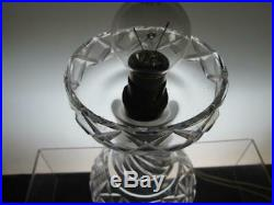 Large 12 1/4 Heavy Cut Glass Crystal Mushroom Table Lamp