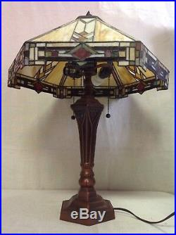 Large 26 Tiffany Mission Stle Stained Leaded Glass 6 Sided Table Lamp