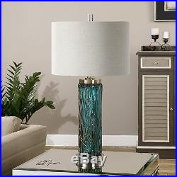 Large 30 Blue Glass Table Lamp Brushed Nickel Metal Accents Linen Shade Light