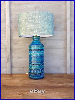 Large 35cm Vintage 1960s Bitossi Aldo Londi Rimini Blue Pottery Table Lamp