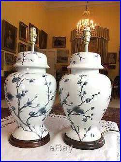 Large 43cm Tall Pair Blue White Prunus Blossom Chinese Covered Vase Table Lamps