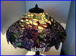 Large 53cm Tiffany Style Twin Bulb Table Lamp Wisteria Purple Green