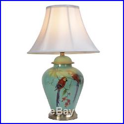 Large 61cm Turquoise Parrot Porcelain Ceramic Chinese Oriental Table Lamp