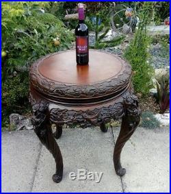 Large Antique 19th Century Carved Mahogany Chinese display Lamp table Magnolias