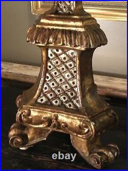 Large Antique Continental Giltwood Alterstick Rococo Table Lamp 99cm Tall