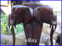 Large Antique Rosewood Hand Carved Ceylon Wooden Elephant Table Lamp