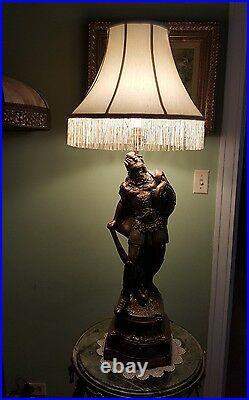 Large Antique Viking Warrior Stone Lamp-Bronze Style
