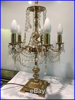 Large Antique Vintage Gilt Metal Italian Crystal Clad 5 Arm Table Lamp