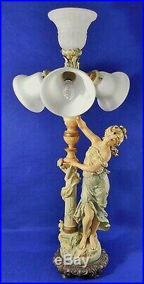 Large Antique/Vtg 36 Signed L & F Moreau Art Nouveau Figural Spelter Table Lamp