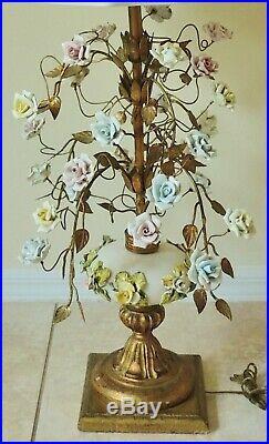 Large Antique/Vtg Italian Gold Metal TOLE Porcelain Flower 36 ROSES Table Lamp