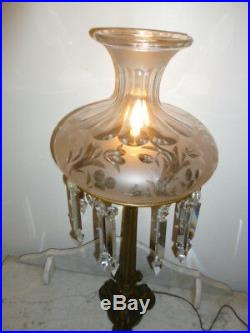 Large Antique bronze etched glass crystal pendants lions head table lamp 1890s