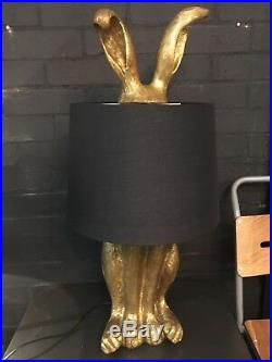 Large Antiqued Gold Rabbit Hare Lamp with Floppy Ears & Black Shade 77 cm High