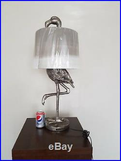 Large Antiqued Silver Flamingo Lamp with Sage Fade Shade 81 cm High