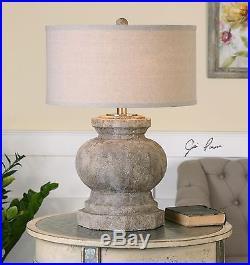 Large Architectural Column Base Table Lamp Stone Finish