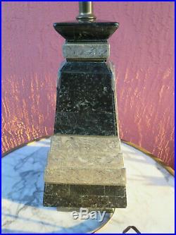 Large Art Deco 2 Colour Marble Stone Table Lamp