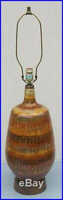 Large BEAUTIFUL Vintage CERAMIC LAMP Lava DRIP GLAZE Hollywood Regency
