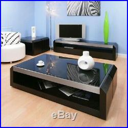 Large Black Oak / Glass Coffee / Lamp / Side Table Modern Designer 01A