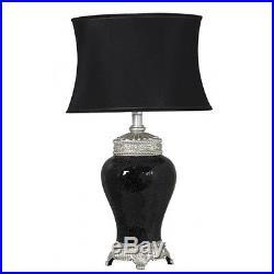 Large Black Sparkle Mosaic Antique Silver Regency Lamp With Black Shade H 79cm
