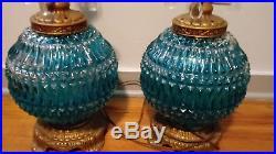 Large Blue Glass Table Lamps Pair Vintage Inner Light Ornate Base Heavy Glass