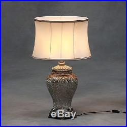 Large Champagne Crushed Mosaic Glass Table Lamp with Oval Silk Shade 76cm High